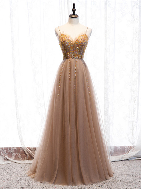 Shop 2020 Champagne Tulle Beading Spaghetti Straps Floor Length Prom Dress From Kemedress
