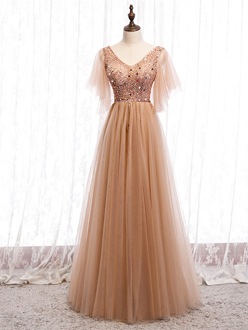 Shop 2020 Cheap Short Sleeves Beading V Neck Champagne Floor Length Prom Dress From Kemedress
