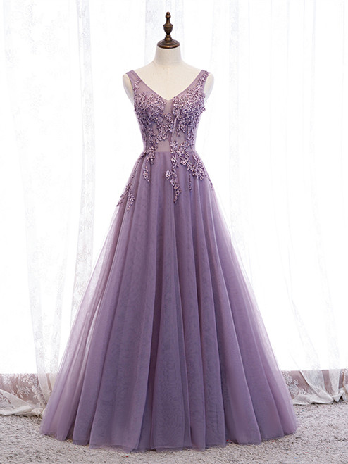 Shop 2020 V Neck Purple Beading Appliques Tulle A Line Prom Dress Under 129