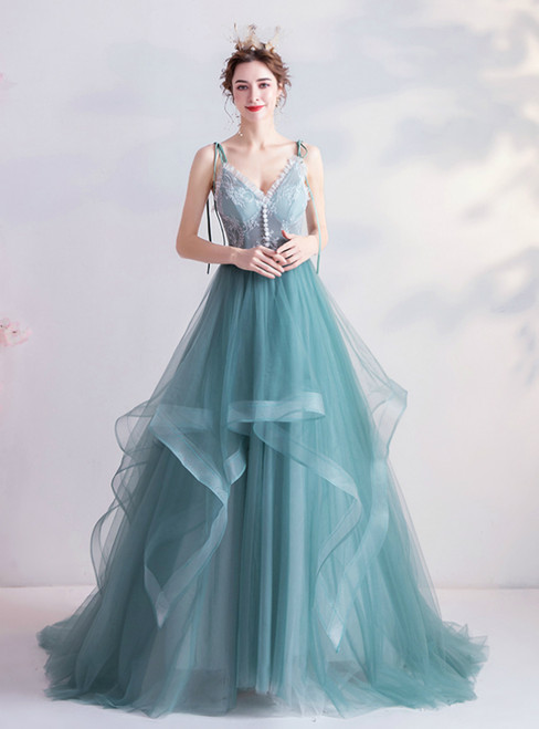 In Stock:Ship in 48 Hours Blue Tulle Lace V-neck Prom Dress 2020