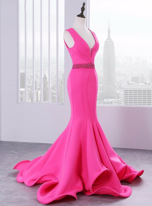 Luxury Satin Mermaid Satin V-neck Backless Prom Dress With Beading
