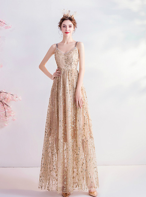 In Stock:Ship in 48 Hours Gold Sequins Double Straps Prom Dress 2020