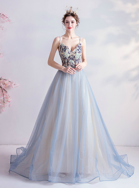 In Stock:Ship in 48 Hours Blue Tulle Spagehtti Straps Beading Prom Dress 2020