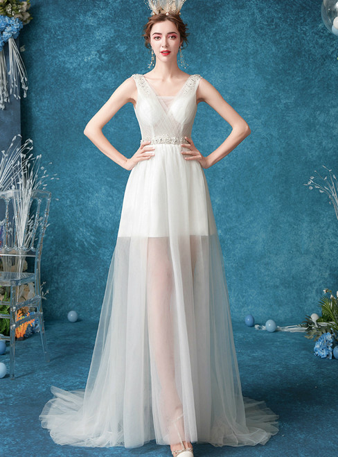 In Stock:Ship in 48 Hours White Tulle V-neck Beading Wedding Dress