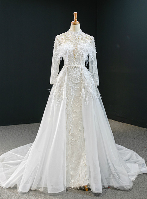 White Tulle High Neck Long Sleeve Prom Dress With Removable Train 2020