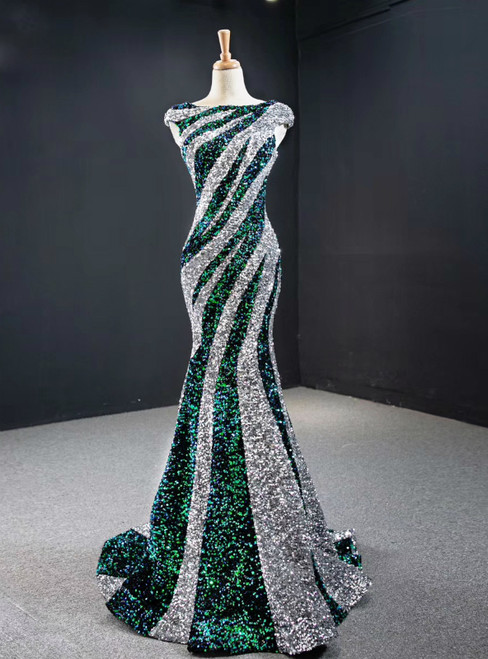 Silver And Green Mermaid Sequins Cap Sleeve Prom Dress