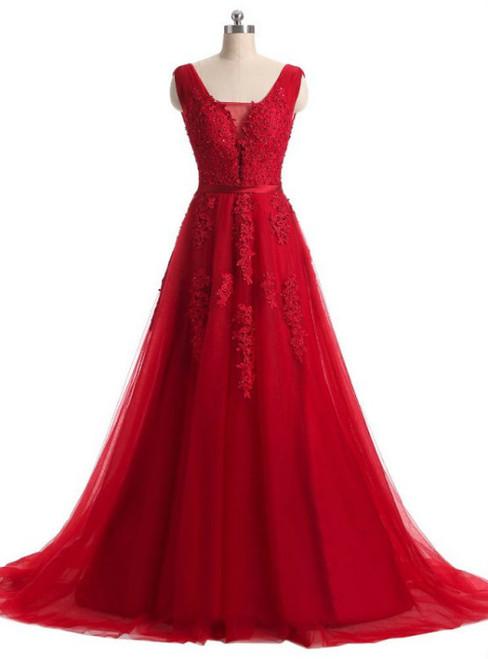 A-line Red Lace V-neck Backless Long Evening Dress 2017