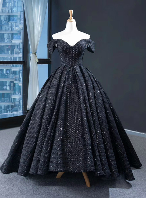 Black Ball Gown Hi Lo Sequins Off the Shoulder Prom Dress 2020