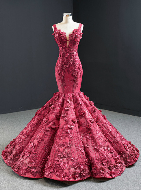 Burgundy Mermaid 3D Appliques Beading Straps Prom Dress 2020