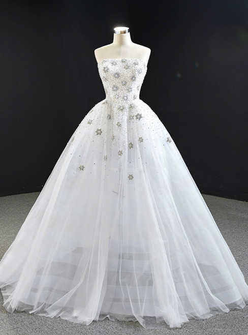 White Ball Gown Tulle Strapless Beading Sequins Prom Dress 2020
