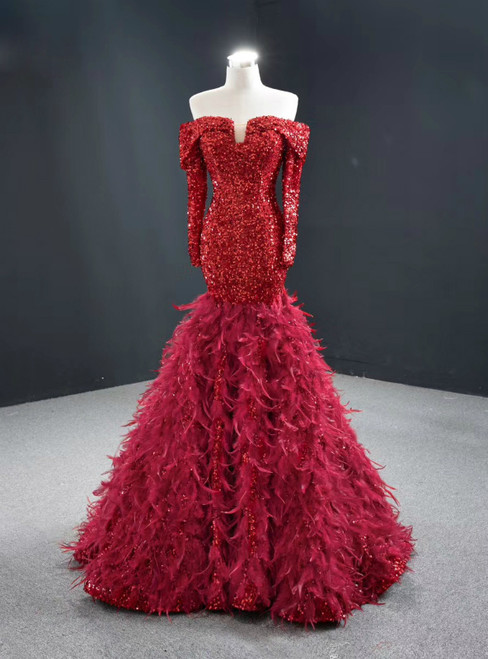 Red Mermaid Sequins Off the Shoulder Long Sleeve Prom Dress With Feather 2020
