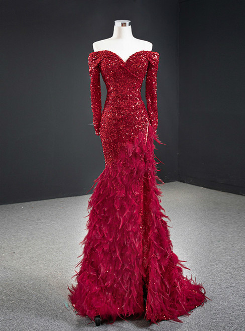 Burgundy Mermaid Sequins Off the Shoulder Long Sleeve Feather Prom Dress 2020