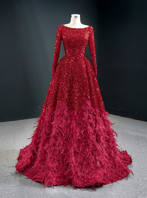 Red Ball Gown Sequins Long Sleeve Feather Prom Dress 2020