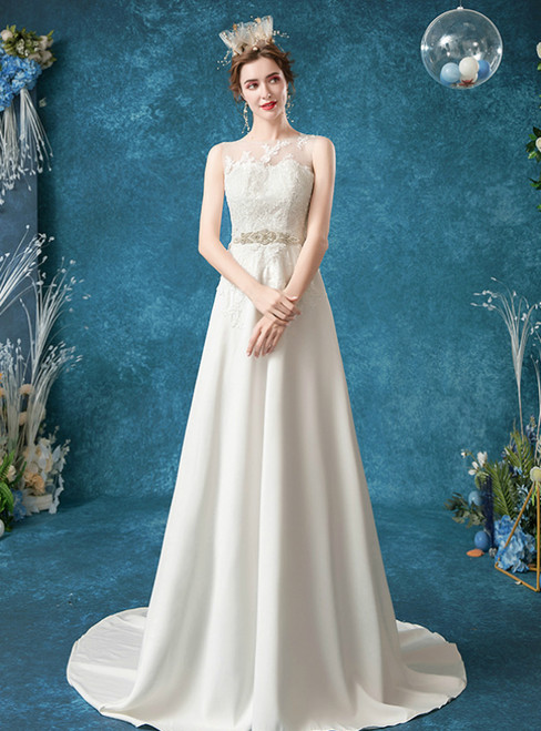 In Stock:Ship in 48 Hours White Chiffon Lace Appliques Beading Wedding Dress 2020