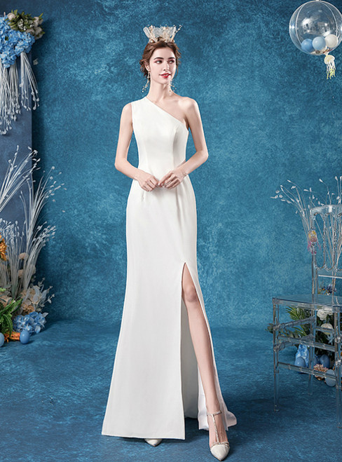 In Stock:Ship in 48 Hours White Chiffon One Shoulder Simple Wedding Dress 2020