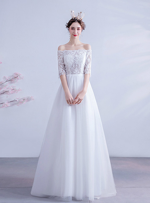 In Stock:Ship in 48 Hours White Tulle Lace Short Sleeve Wedding Dress 2020