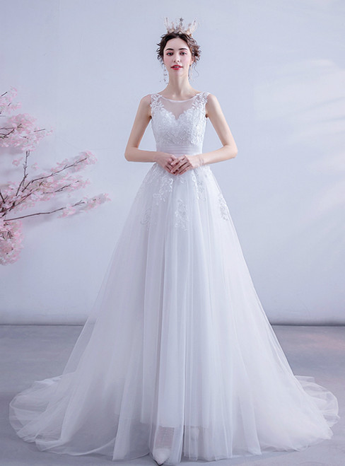 In Stock:Ship in 48 Hours White Tulle Lace Appliques Wedding Dress 2020