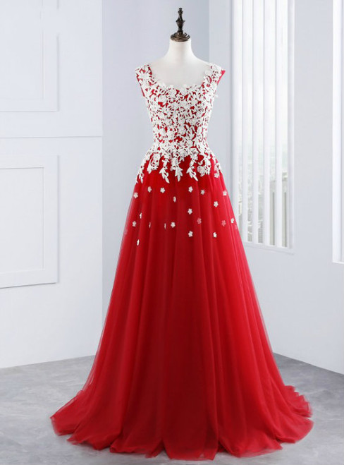 Sexy A-Line Red Tulle Appliques Long Prom Dresses