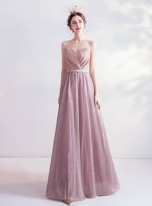 In Stock:Ship in 48 Hours Pink Sequins Sweetheart Pleats Prom Dress 2020