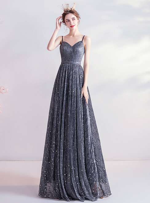 In Stock:Ship in 48 Hours Black Sequins Spagehtti Straps Prom Dress 2020