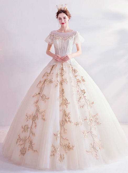 In Stock:Ship in 48 Hours Champagne Tulle Appliques Puff Sleeve Wedding Dress 2020