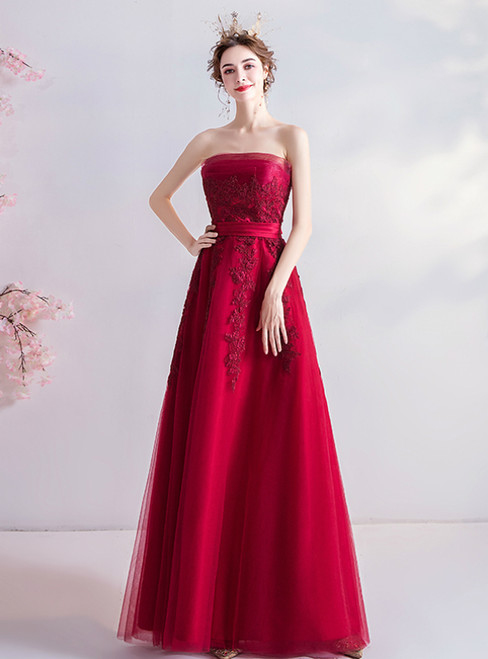 In Stock:Ship in 48 Hours Red Tulle Strapless Appliques Prom Dress 2020