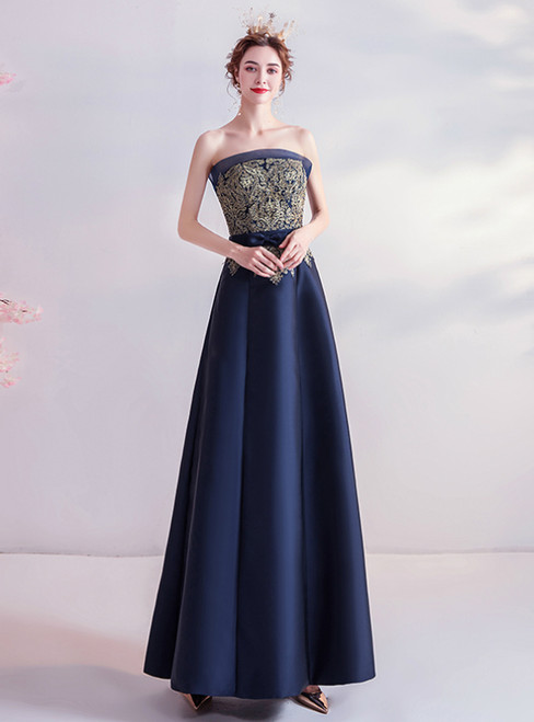 In Stock:Ship in 48 Hours Navy Blue Satin Strapless Prom Dress 2020