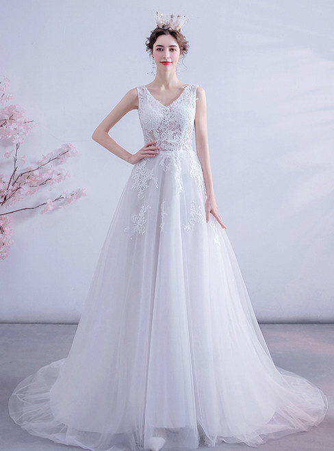 In Stock:Ship in 48 Hours White Tulle Lace Appliques V-neck Wedding Dress 2020