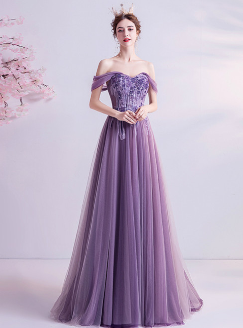 In Stock:Ship in 48 Hours Purple Tulle Off the Shoulder Beading Prom Dress 2020