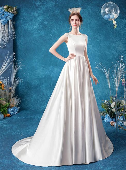In Stock:Ship in 48 Hours White Satin Cap Sleeve Wedding Dress 2020