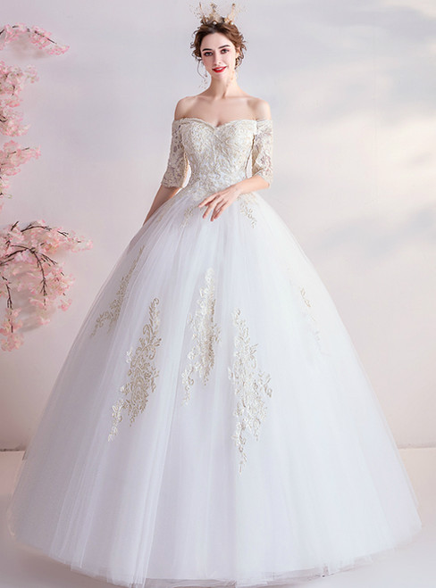 In Stock:Ship in 48 Hours White Ball Gown Tulle Off the Shoulder Short Sleeve Wedding Dress 2020