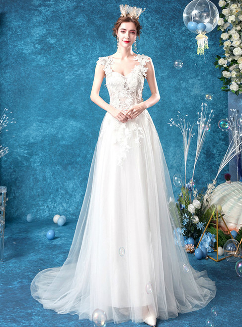 In Stock:Ship in 48 Hours White Tulle Lace Appliques Sleeveless Wedding Dress 2020