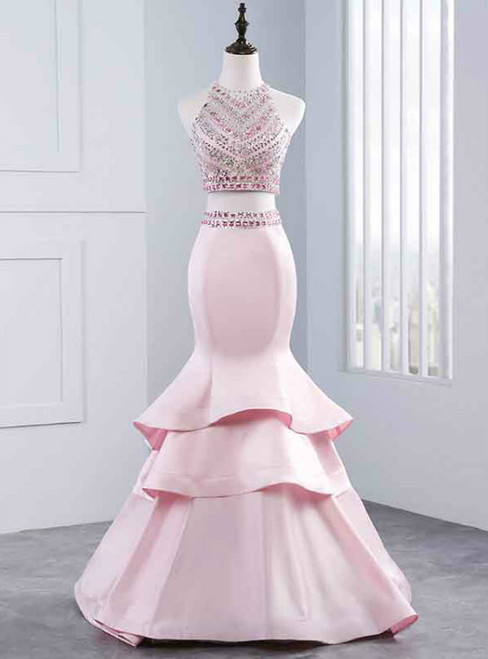 Long Prom Dresses Sexy Prom Dresses Two Piece Party Prom Dresses Beading