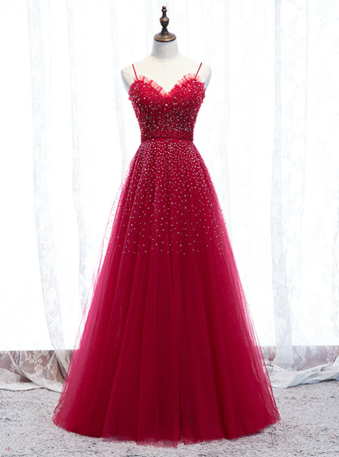 In Stock:Ship in 48 Hours Burgundy Tulle Spagehtti Straps Beading Prom Dress