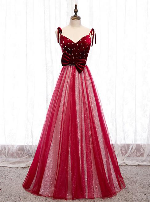 Burgundy Tulle Sequins Velvet V-neck Beading Prom Dress 2020