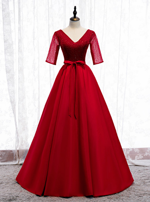 A-Line Burgundy Satin V-neck Short Sleeve Sequins Prom Dress 2020