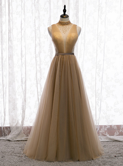 Champagne Tulle High Neck Pleats Beading Backless Long Prom Dress 2020