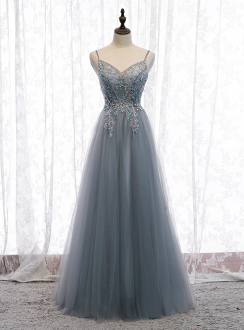 A-Line Gray Tulle Spaghetti Straps Sequins Prom Dress 2020