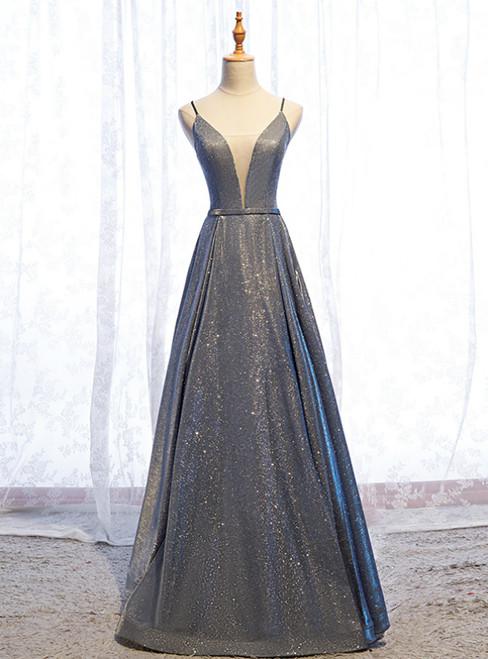A-Line Gray Deep V-neck Sleeveless Long Prom Dress