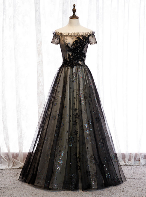 A-Line Black Tulle Sequins Off the Shoulder Long Prom Dress 2020