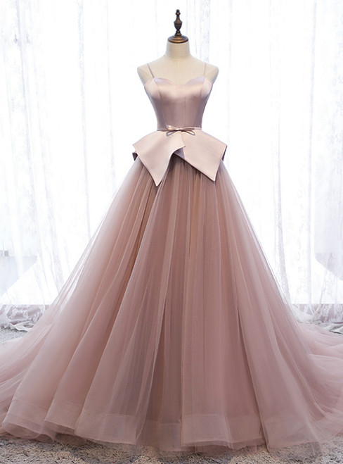 A-Line Pink Tulle Satin Spagehtti Straps Prom Dress 2020