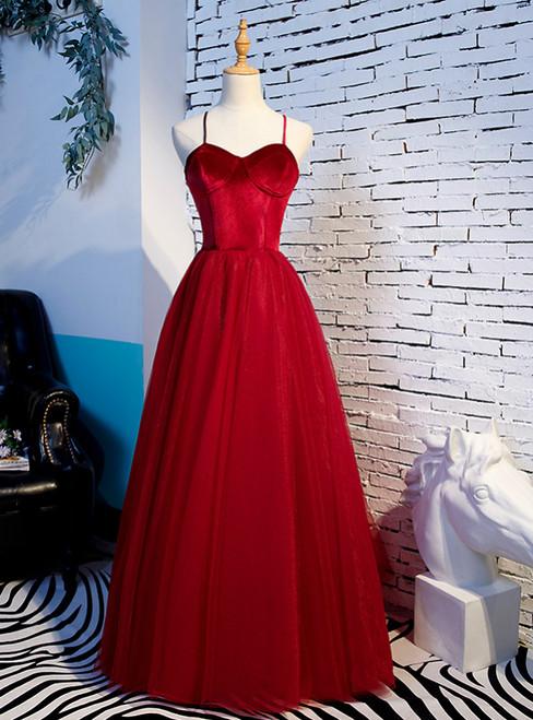 A-Line Burgundy Tulle Velvet Spaghetti Straps Prom Dress 2020