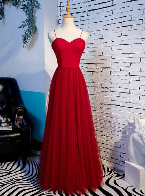 Burgundy Tulle Spaghetti Straps Long Prom Dress 2020