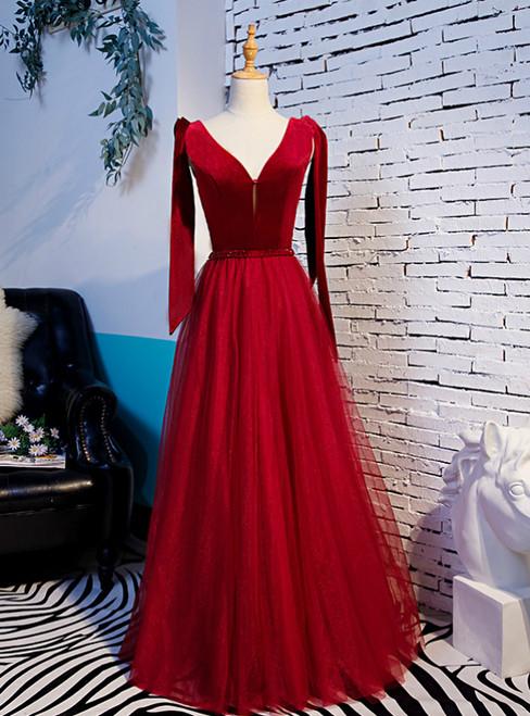 Burgundy Tulle Velvet V-neck Beading Prom Dress With Bow 2020