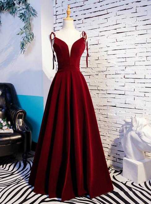A-Line Burgundy Velvet Spaghetti Straps Prom Dress 2020