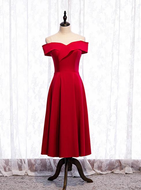 Cheap Satin Burgundy Sleeveless Short Prom Dress 2020