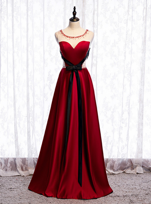 Fashion Burgundy Satin Beading Prom Dress With Black Sash 2020