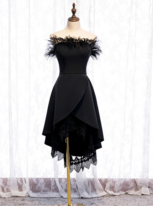 A-Line Black Satin Hi Lo Lace Of the Shoulder Prom Dress 2020