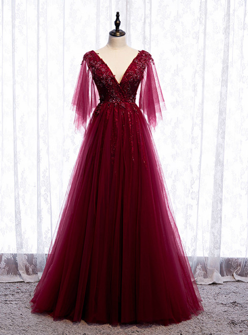 Burgundy Tulle Deep V-neck Beading Prom Dress 2020