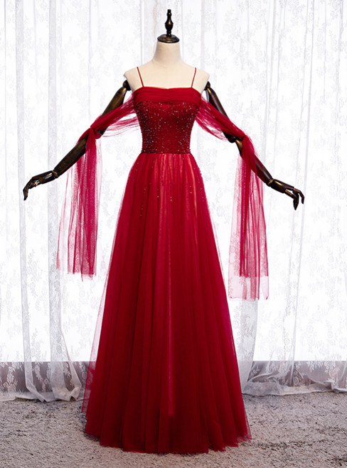 Burgundy Tulle Spaghetti Straps Beading Sequins Prom Dress 2020